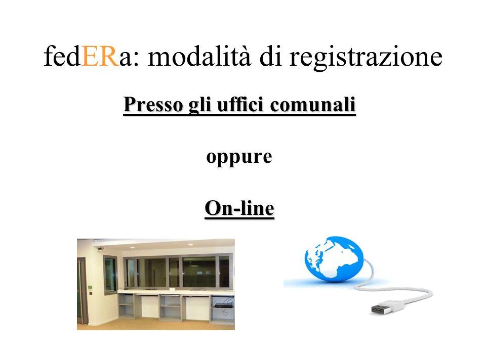 fedERa: modalità di registrazione Presso gli uffici comunali oppureOn-line
