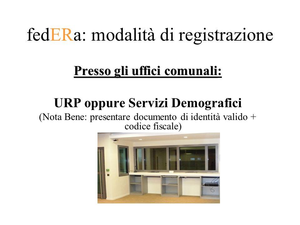 fedERa: modalità di registrazione Presso gli uffici comunali Presso gli uffici comunali: URP oppure Servizi Demografici (Nota Bene: presentare documento di identità valido + codice fiscale)
