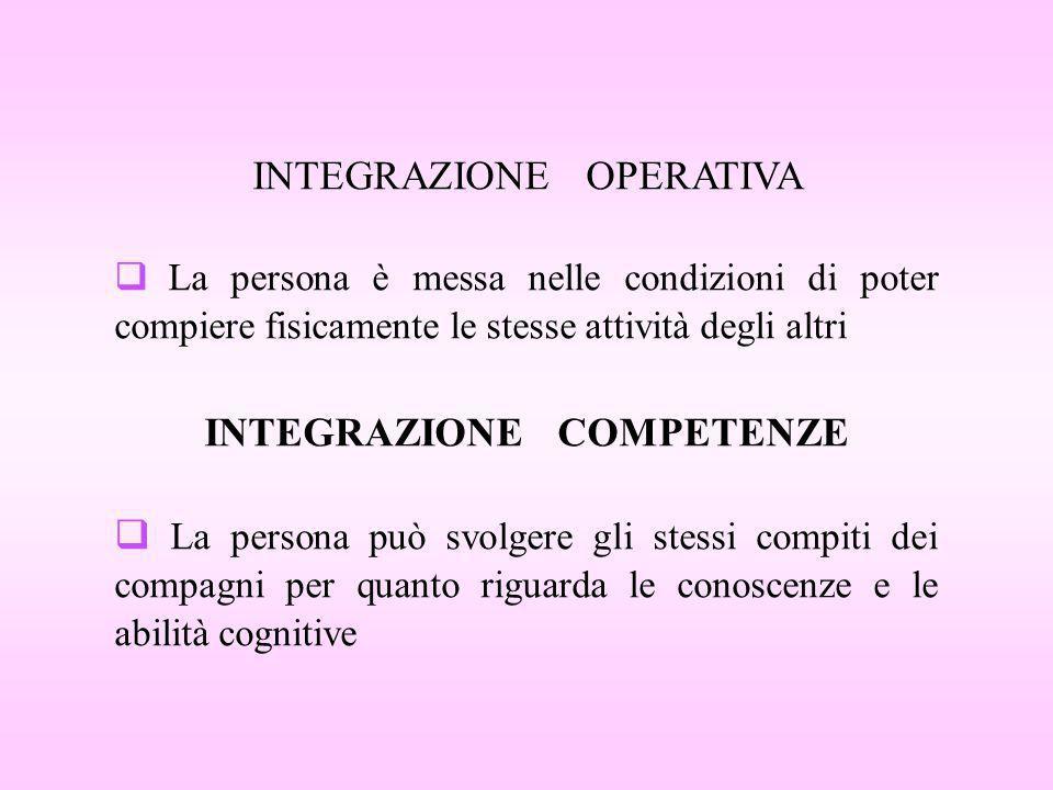 INTEGRAZIONE OPERATIVA La persona è messa nelle condizioni di poter compiere fisicamente le stesse attività degli altri INTEGRAZIONE COMPETENZE La per