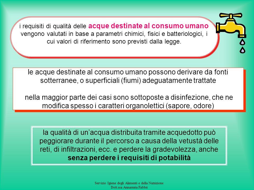 Servizio Igiene degli Alimenti e della Nutrizione Dott.ssa Annamria Fabbri Acqua destinata al consumo umano D.Lgs 31/01 e D.Lgs 27/02 (Il DPR 236/88 è