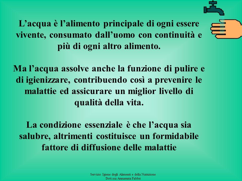 Servizio Igiene degli Alimenti e della Nutrizione Dott.ssa Annamria Fabbri Lacqua è lalimento principale di ogni essere vivente, consumato dalluomo con continuità e più di ogni altro alimento.