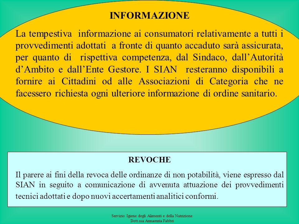 Servizio Igiene degli Alimenti e della Nutrizione Dott.ssa Annamria Fabbri Superamento dei valori dei parametri indicatori, allegato I parte C del D.L