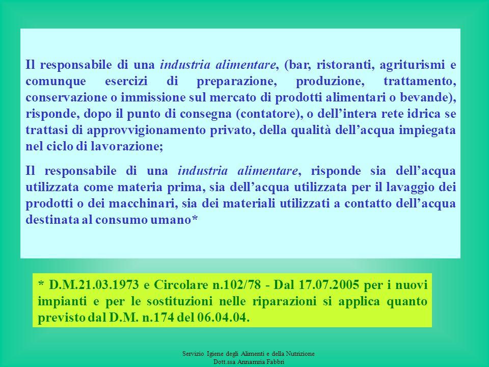 Servizio Igiene degli Alimenti e della Nutrizione Dott.ssa Annamria Fabbri CONTROLLO PRESSO INDUSTRIE ALIMENTARI, IMPIANTI DI IMBOTTIGLIAMENTO, STRUTT