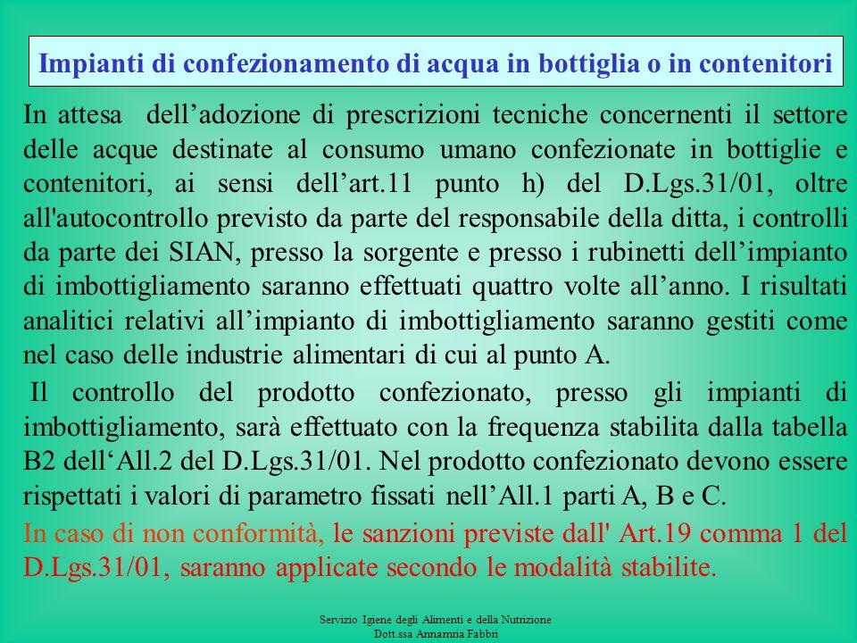 Servizio Igiene degli Alimenti e della Nutrizione Dott.ssa Annamria Fabbri Edifici e Strutture pubbliche Il controllo ai rubinetti del consumatore neg