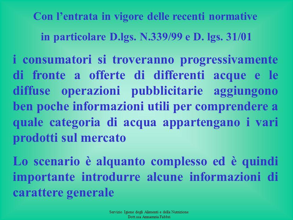 Servizio Igiene degli Alimenti e della Nutrizione Dott.ssa Annamria Fabbri Con lentrata in vigore delle recenti normative in particolare D.lgs.