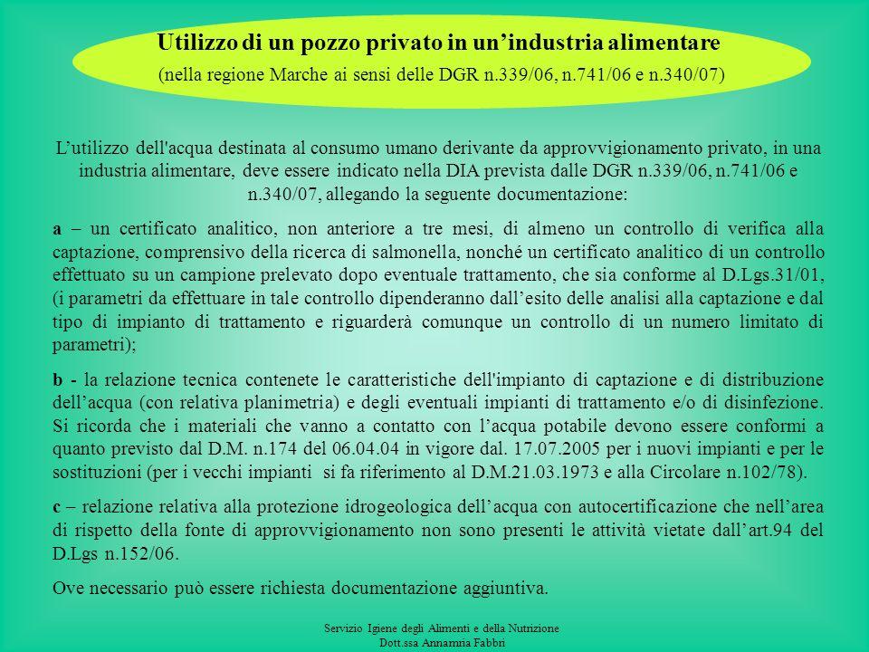Servizio Igiene degli Alimenti e della Nutrizione Dott.ssa Annamria Fabbri Autorizzazione per lutilizzo di un pozzo privato ai sensi del Decreto del M