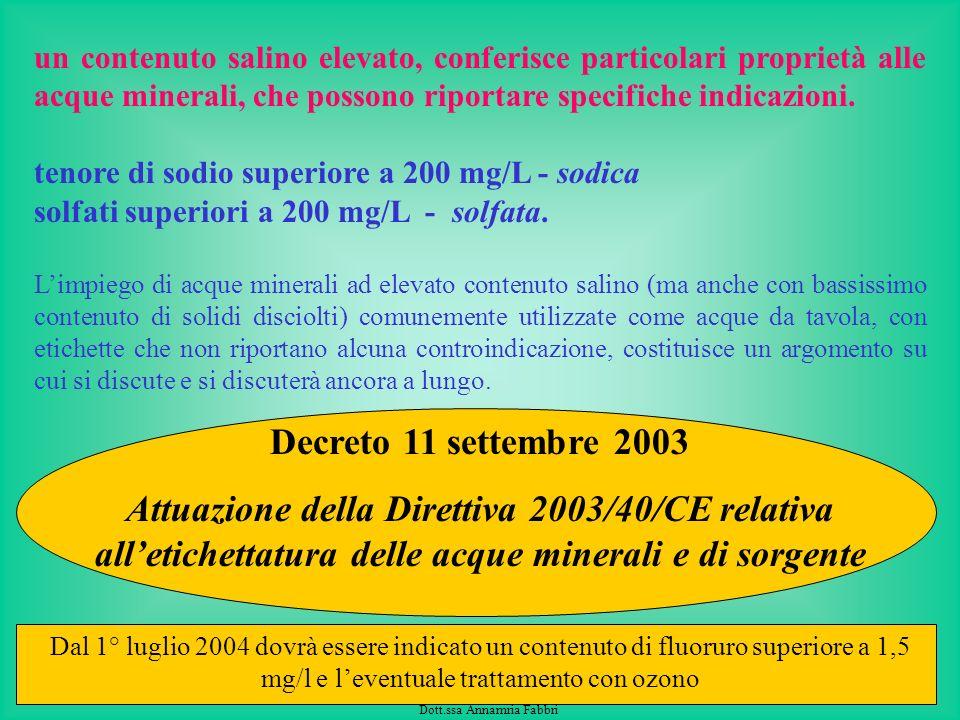Servizio Igiene degli Alimenti e della Nutrizione Dott.ssa Annamria Fabbri Le acque minerali presentano una grande varietà di composizione non cè limi