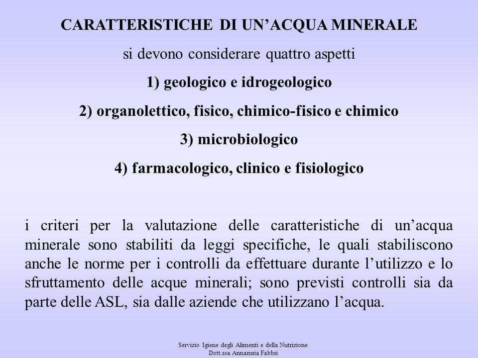 Servizio Igiene degli Alimenti e della Nutrizione Dott.ssa Annamria Fabbri La normativa delle acque minerali naturali prevede il riconoscimento delle