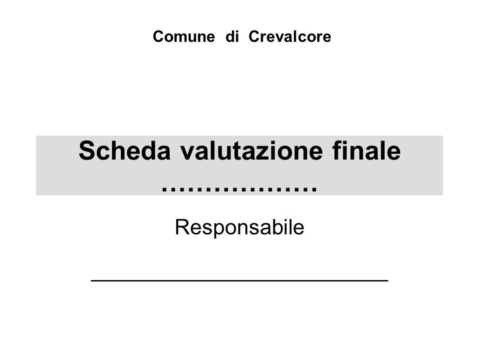 Scheda valutazione finale ……………… Responsabile _________________________ Comune di Crevalcore