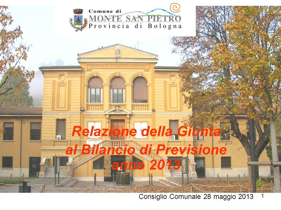1 Relazione della Giunta al Bilancio di Previsione anno 2013 Consiglio Comunale 28 maggio 2013