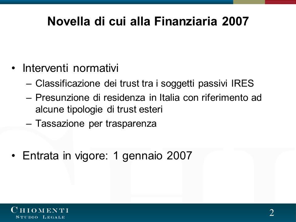 2 Novella di cui alla Finanziaria 2007 Interventi normativi –Classificazione dei trust tra i soggetti passivi IRES –Presunzione di residenza in Italia con riferimento ad alcune tipologie di trust esteri –Tassazione per trasparenza Entrata in vigore: 1 gennaio 2007