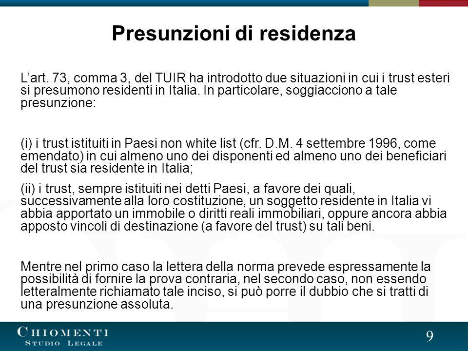 9 Presunzioni di residenza Lart.