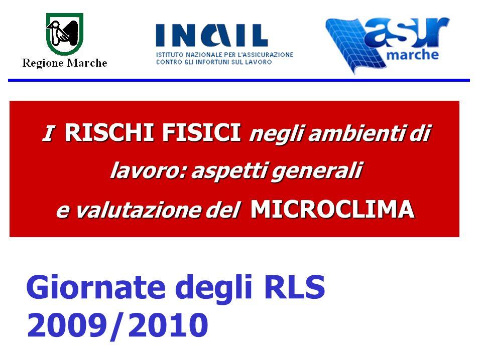 I RISCHI FISICI negli ambienti di lavoro: aspetti generali e valutazione del MICROCLIMA Giornate degli RLS 2009/2010