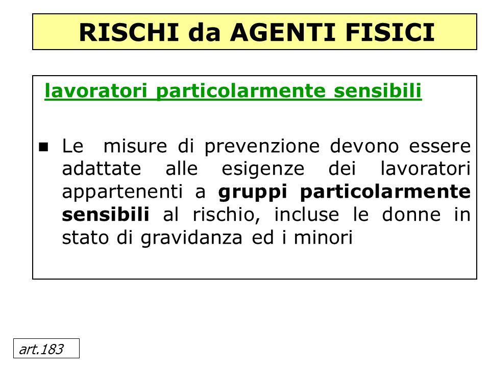 art.183 lavoratori particolarmente sensibili Le misure di prevenzione devono essere adattate alle esigenze dei lavoratori appartenenti a gruppi partic