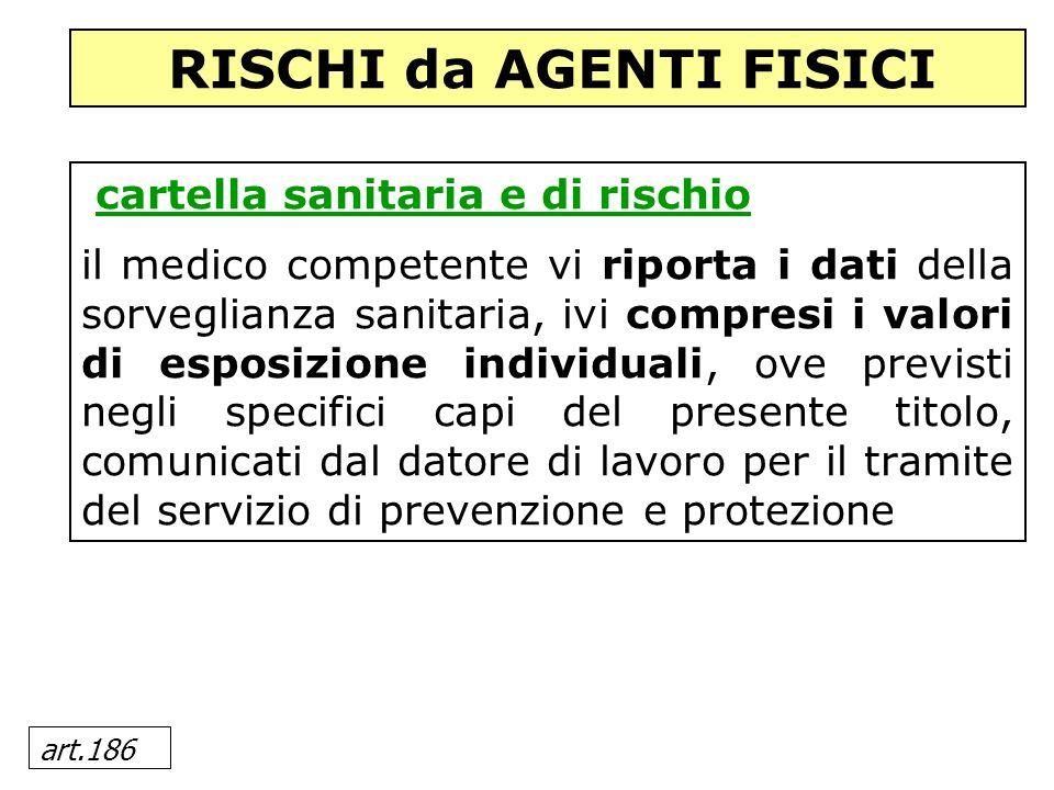 art.186 cartella sanitaria e di rischio il medico competente vi riporta i dati della sorveglianza sanitaria, ivi compresi i valori di esposizione indi