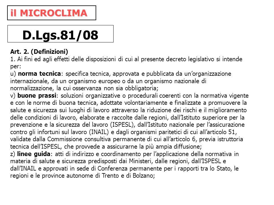 il MICROCLIMA D.Lgs.81/08 Art. 2. (Definizioni) 1. Ai fini ed agli effetti delle disposizioni di cui al presente decreto legislativo si intende per: u