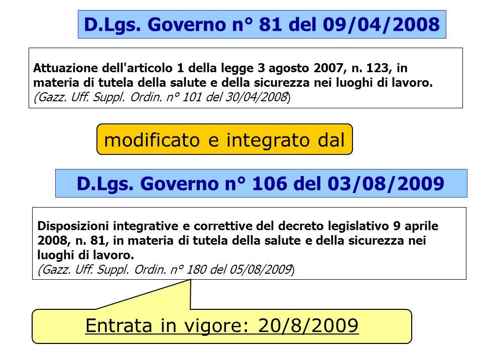 D.Lgs. Governo n° 81 del 09/04/2008 Attuazione dell'articolo 1 della legge 3 agosto 2007, n. 123, in materia di tutela della salute e della sicurezza