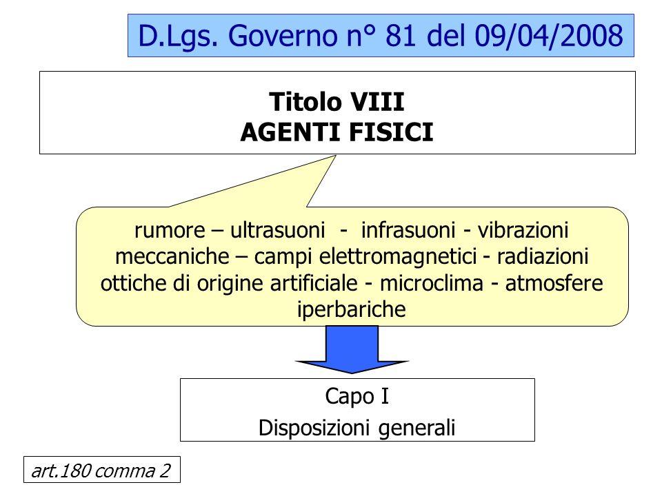 Titolo VIII AGENTI FISICI D.Lgs. Governo n° 81 del 09/04/2008 rumore – ultrasuoni - infrasuoni - vibrazioni meccaniche – campi elettromagnetici - radi