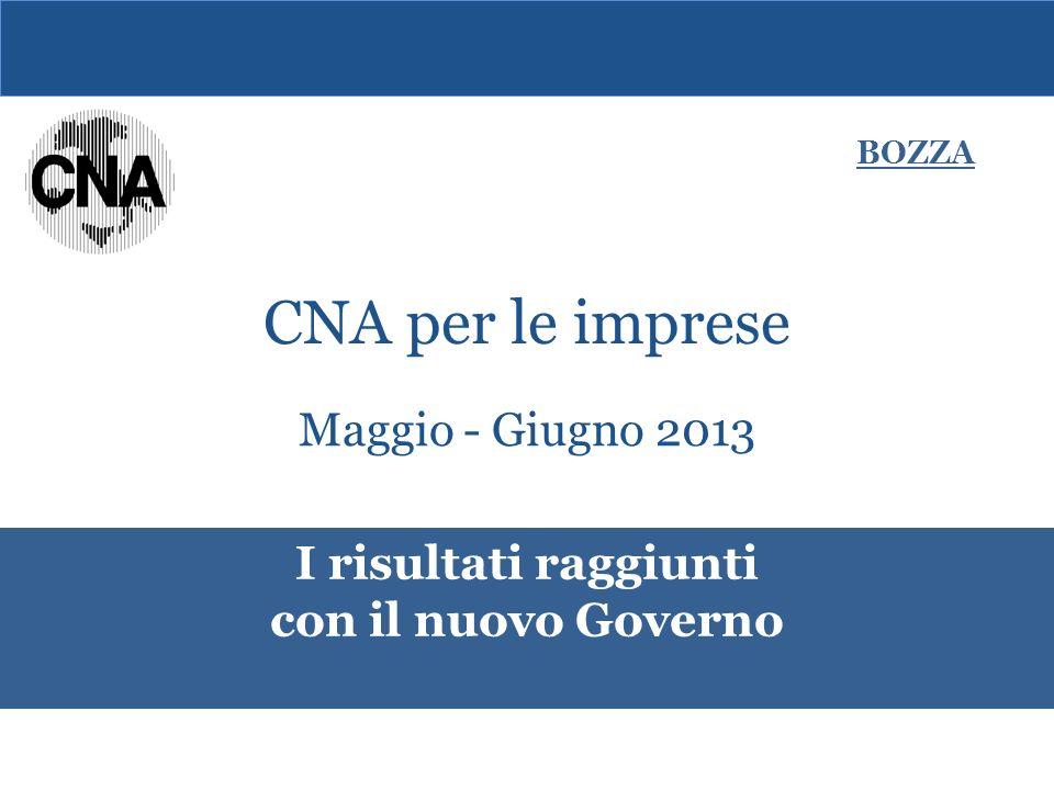 Maggio - Giugno 2013 I risultati raggiunti con il nuovo Governo BOZZA CNA per le imprese