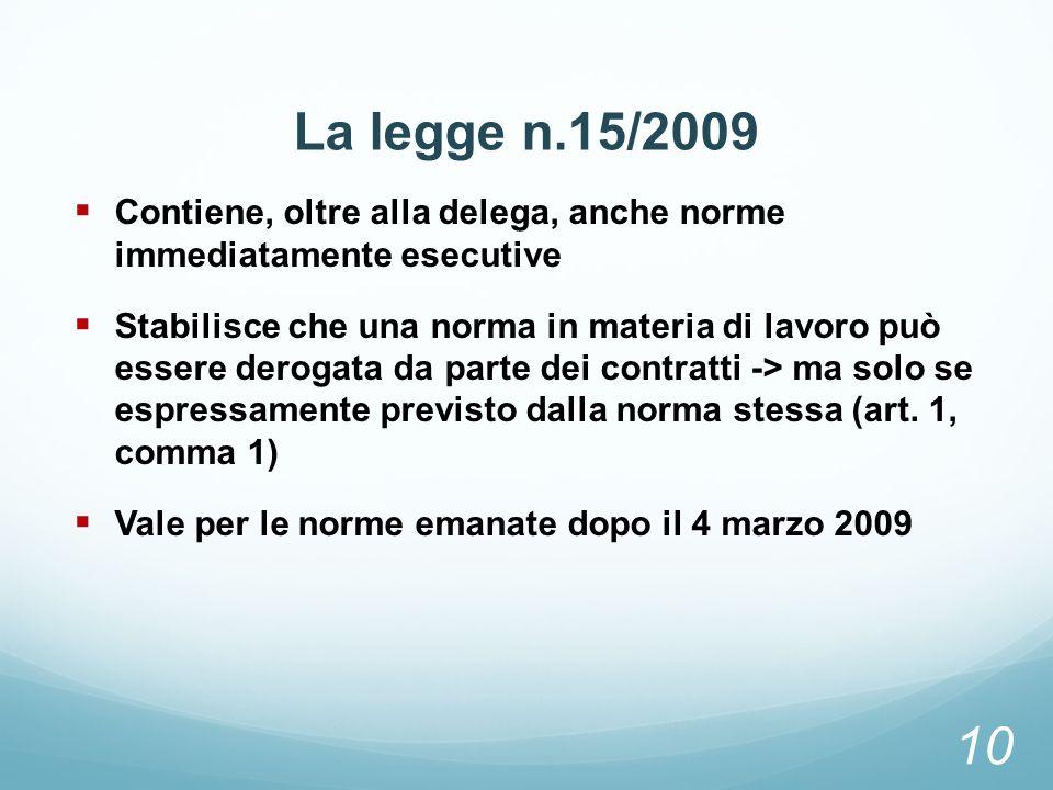 La legge n.15/2009 Contiene, oltre alla delega, anche norme immediatamente esecutive Stabilisce che una norma in materia di lavoro può essere derogata