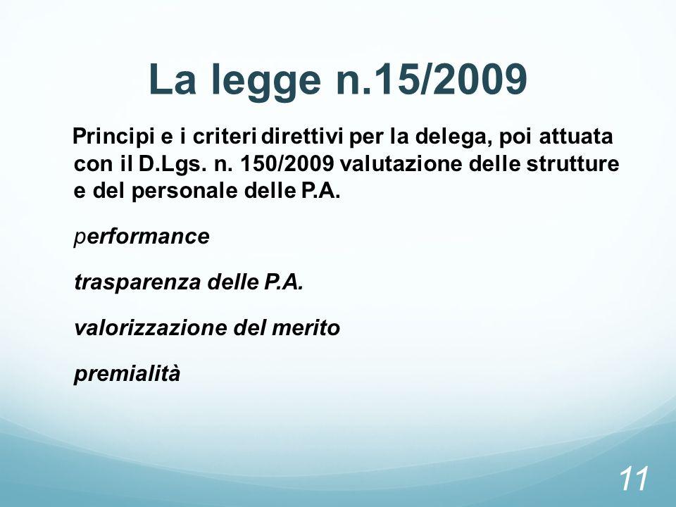La legge n.15/2009 Principi e i criteri direttivi per la delega, poi attuata con il D.Lgs. n. 150/2009 valutazione delle strutture e del personale del