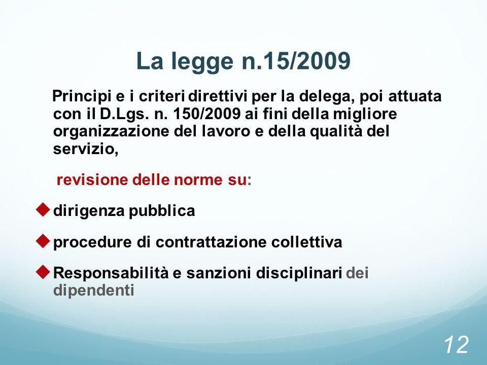 La legge n.15/2009 Principi e i criteri direttivi per la delega, poi attuata con il D.Lgs. n. 150/2009 ai fini della migliore organizzazione del lavor
