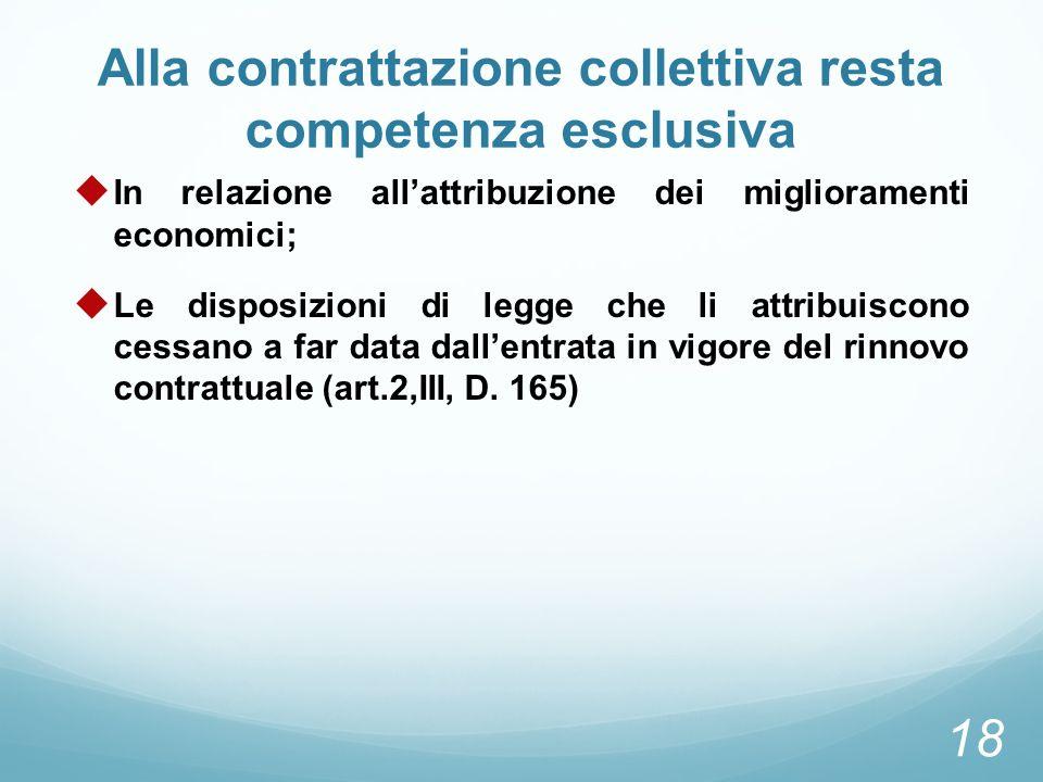 Alla contrattazione collettiva resta competenza esclusiva In relazione allattribuzione dei miglioramenti economici; Le disposizioni di legge che li at