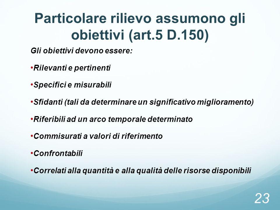 Particolare rilievo assumono gli obiettivi (art.5 D.150) Gli obiettivi devono essere: Rilevanti e pertinenti Specifici e misurabili Sfidanti (tali da