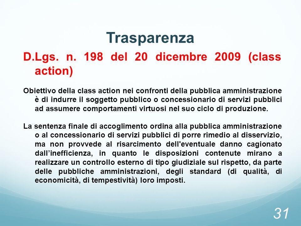 Trasparenza D.Lgs. n. 198 del 20 dicembre 2009 (class action) Obiettivo della class action nei confronti della pubblica amministrazione è di indurre i