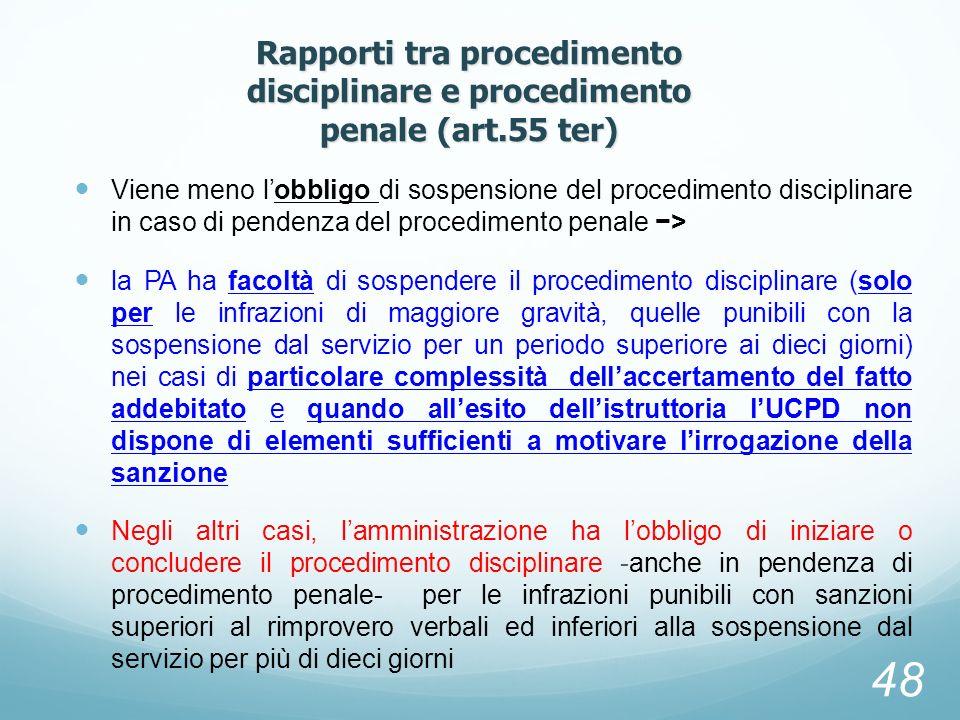 Viene meno lobbligo di sospensione del procedimento disciplinare in caso di pendenza del procedimento penale > la PA ha facoltà di sospendere il proce