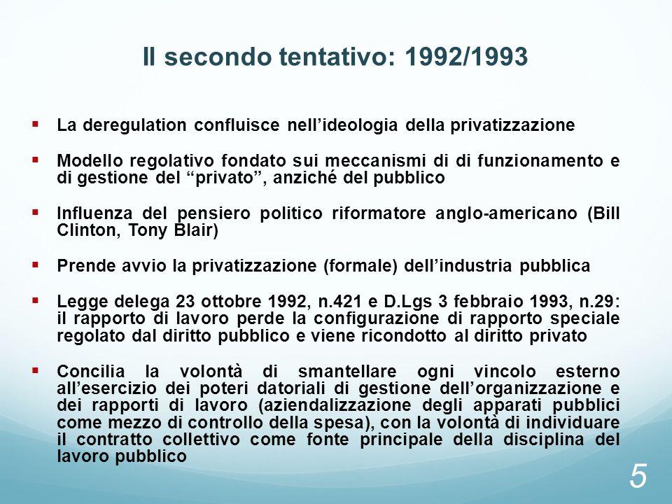 Il secondo tentativo: 1992/1993 La deregulation confluisce nellideologia della privatizzazione Modello regolativo fondato sui meccanismi di di funzion
