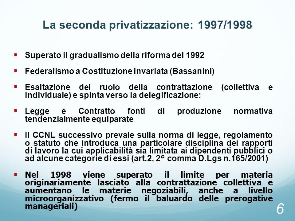 La seconda privatizzazione: 1997/1998 Superato il gradualismo della riforma del 1992 Federalismo a Costituzione invariata (Bassanini) Esaltazione del