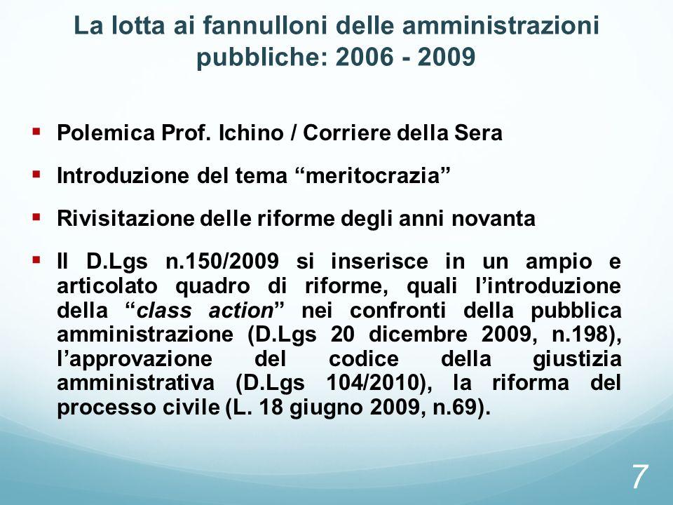La lotta ai fannulloni delle amministrazioni pubbliche: 2006 - 2009 Polemica Prof. Ichino / Corriere della Sera Introduzione del tema meritocrazia Riv