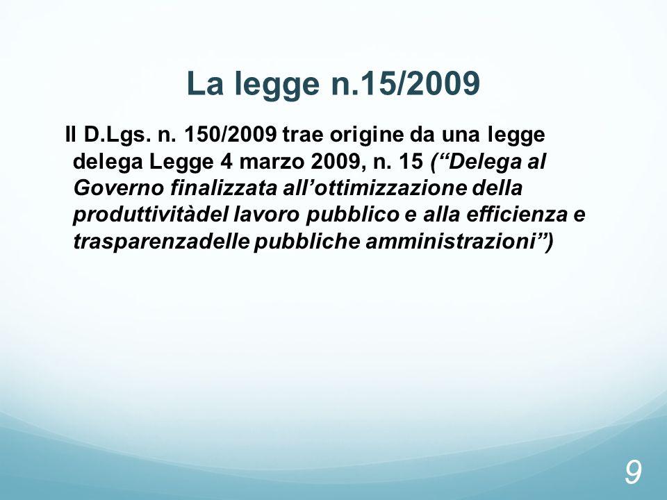 La legge n.15/2009 Il D.Lgs. n. 150/2009 trae origine da una legge delega Legge 4 marzo 2009, n. 15 (Delega al Governo finalizzata allottimizzazione d
