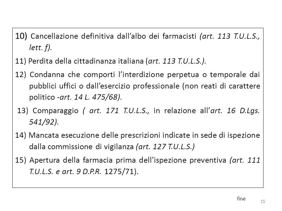 15 10) Cancellazione definitiva dallalbo dei farmacisti (art. 113 T.U.L.S., lett. f). 11) Perdita della cittadinanza italiana (art. 113 T.U.L.S.). 12)