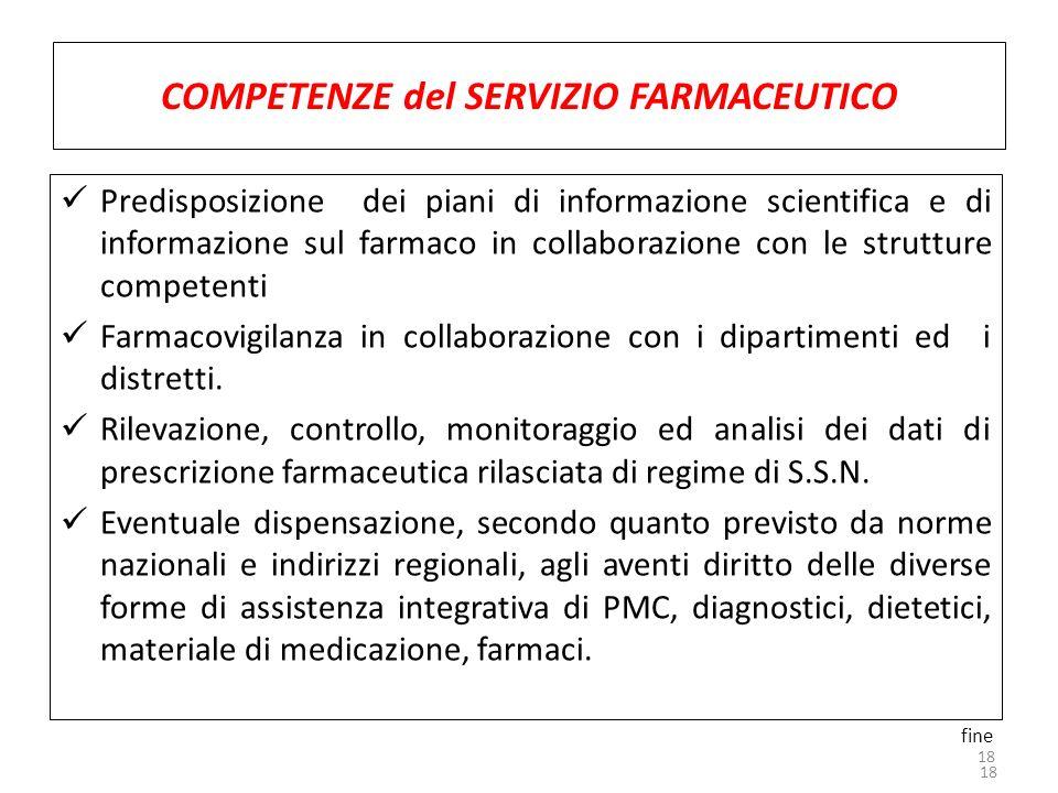 18 COMPETENZE del SERVIZIO FARMACEUTICO Predisposizione dei piani di informazione scientifica e di informazione sul farmaco in collaborazione con le s