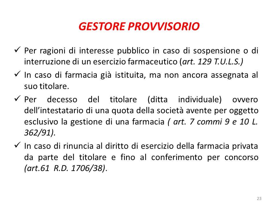 23 GESTORE PROVVISORIO Per ragioni di interesse pubblico in caso di sospensione o di interruzione di un esercizio farmaceutico (art. 129 T.U.L.S.) In