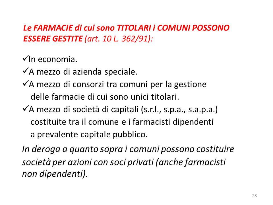 28 Le FARMACIE di cui sono TITOLARI i COMUNI POSSONO ESSERE GESTITE (art. 10 L. 362/91): In economia. A mezzo di azienda speciale. A mezzo di consorzi