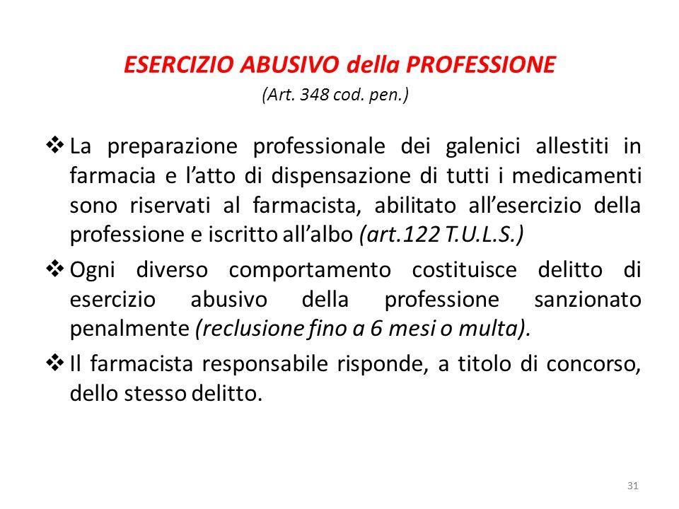 31 ESERCIZIO ABUSIVO della PROFESSIONE La preparazione professionale dei galenici allestiti in farmacia e latto di dispensazione di tutti i medicament