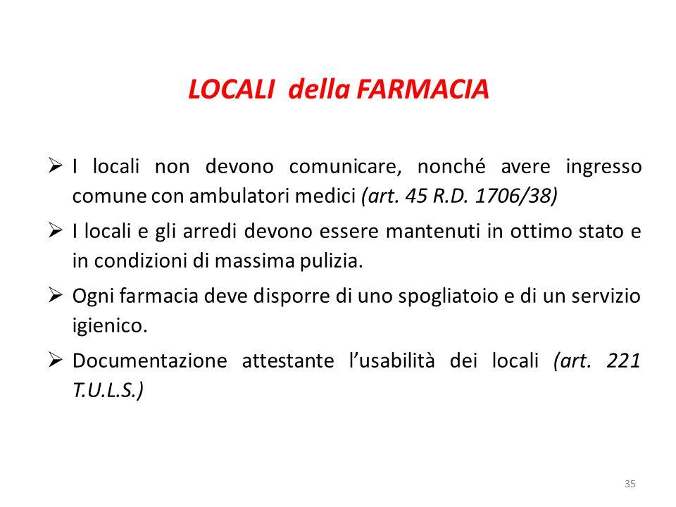 35 LOCALI della FARMACIA I locali non devono comunicare, nonché avere ingresso comune con ambulatori medici (art. 45 R.D. 1706/38) I locali e gli arre