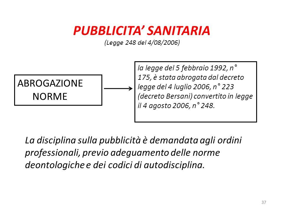 37 PUBBLICITA SANITARIA 37 (Legge 248 del 4/08/2006) la legge del 5 febbraio 1992, n° 175, è stata abrogata dal decreto legge del 4 luglio 2006, n° 22
