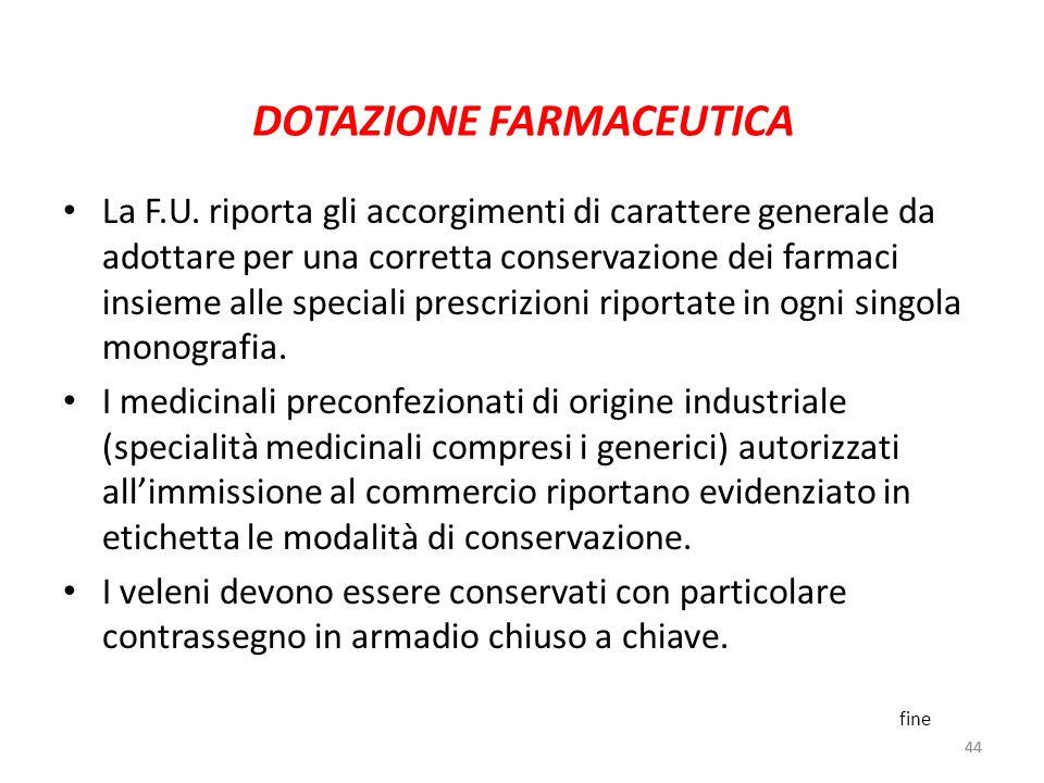 44 DOTAZIONE FARMACEUTICA La F.U. riporta gli accorgimenti di carattere generale da adottare per una corretta conservazione dei farmaci insieme alle s