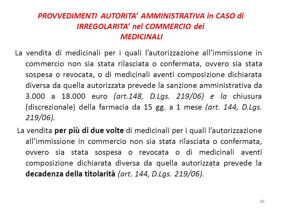 49 PROVVEDIMENTI AUTORITA AMMINISTRATIVA in CASO di IRREGOLARITA nel COMMERCIO dei MEDICINALI La vendita di medicinali per i quali lautorizzazione all