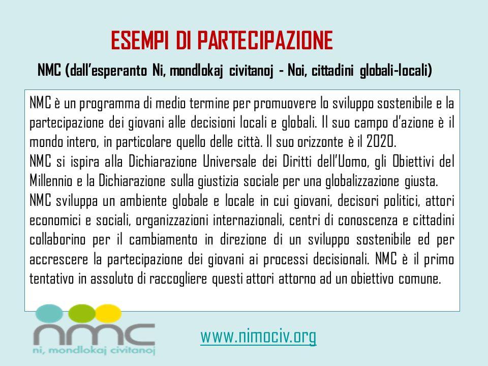 ESEMPI DI PARTECIPAZIONE NMC è un programma di medio termine per promuovere lo sviluppo sostenibile e la partecipazione dei giovani alle decisioni loc