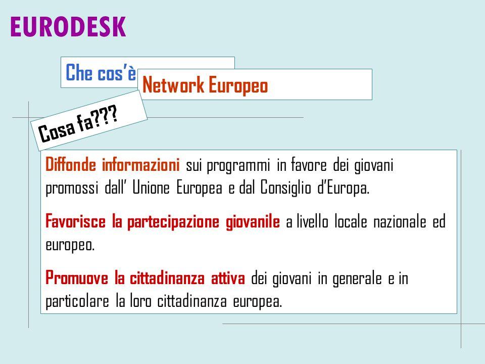 Che cosè Diffonde informazioni sui programmi in favore dei giovani promossi dall Unione Europea e dal Consiglio dEuropa. Favorisce la partecipazione g