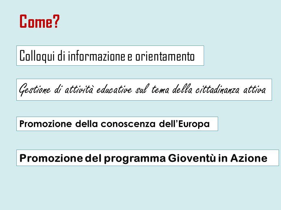 Come? Colloqui di informazione e orientamento Gestione di attività educative sul tema della cittadinanza attiva Promozione del programma Gioventù in A
