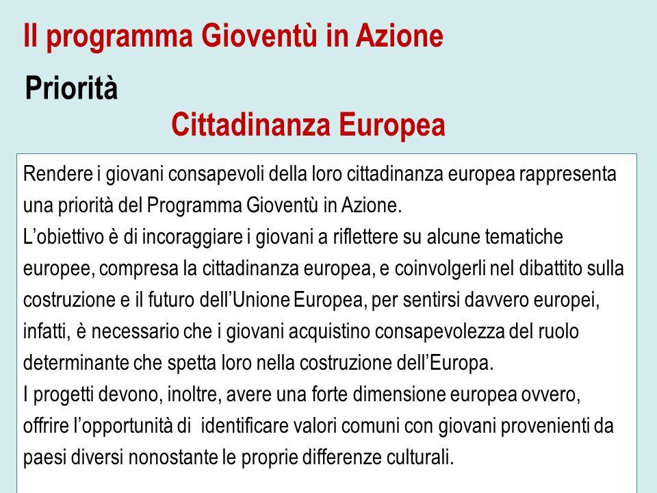 Priorità Rendere i giovani consapevoli della loro cittadinanza europea rappresenta una priorità del Programma Gioventù in Azione. Lobiettivo è di inco