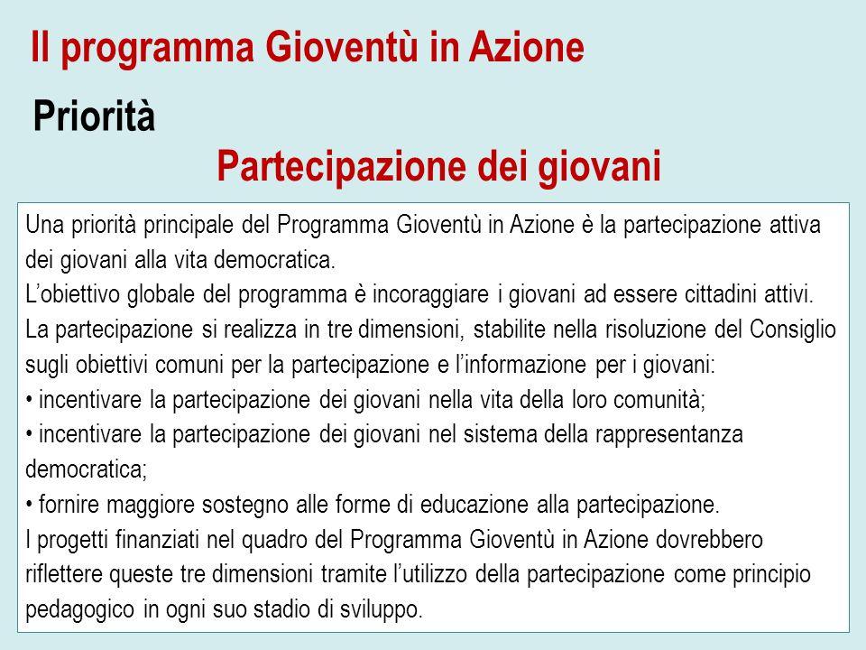 Una priorità principale del Programma Gioventù in Azione è la partecipazione attiva dei giovani alla vita democratica. Lobiettivo globale del programm