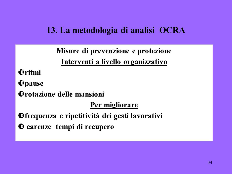 34 13. La metodologia di analisi OCRA Misure di prevenzione e protezione Interventi a livello organizzativo ritmi pause rotazione delle mansioni Per m
