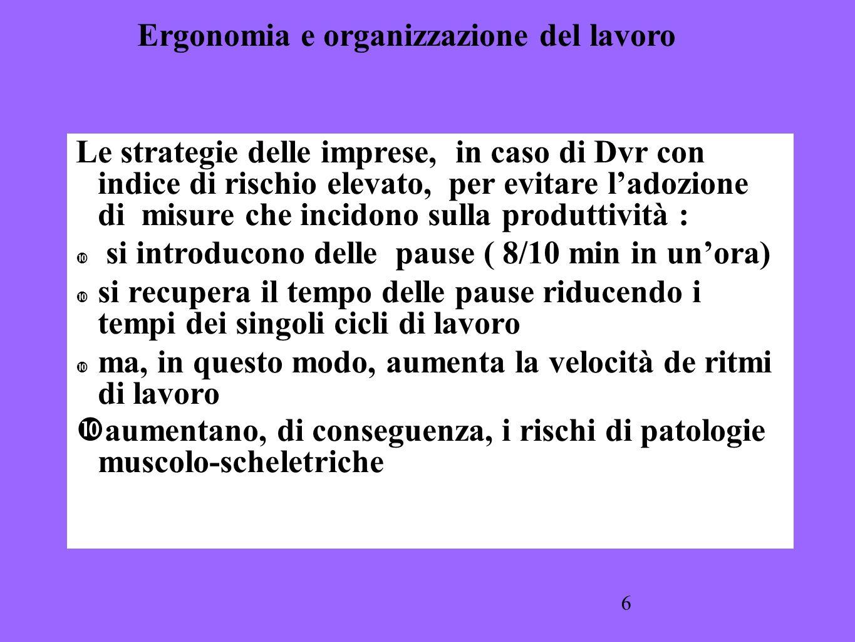 6 Le strategie delle imprese, in caso di Dvr con indice di rischio elevato, per evitare ladozione di misure che incidono sulla produttività : si intro